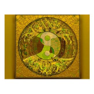 Yin Yang en colores de oro Postal