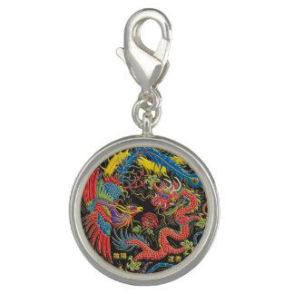 Yin Yang Phoenix y encanto del dragón Dije Con Foto