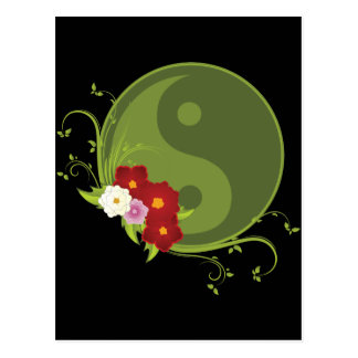 Yin Yang y flores Postal