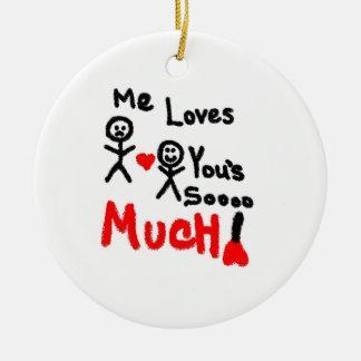 Yo amores usted dibujo animado adorno navideño redondo de cerámica