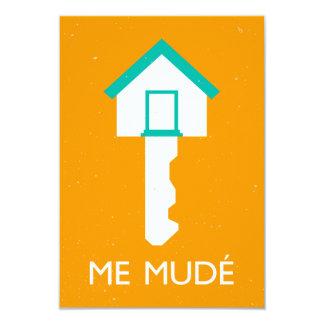 yo mude llave de casa invitación 8,9 x 12,7 cm