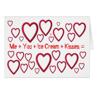 Yo+Usted+ Helado + Besos = día de San Valentín fel Tarjeta De Felicitación