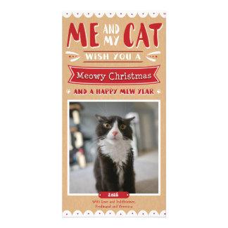 Yo y mi navidad 4x8 Photocard del gato Tarjeta