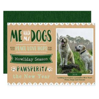 Yo y mi tarjeta de Navidad de los perros 5x7 Invitación 12,7 X 17,8 Cm