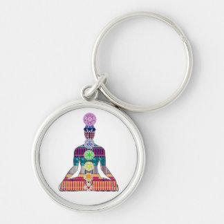Yoga curativa espiritual de la meditación CHAKRA Llavero Redondo Plateado