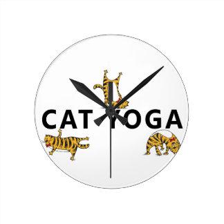 yoga del gato reloj redondo mediano
