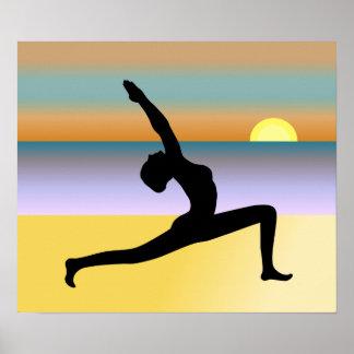 Yoga en la impresión del poster de la actitud de póster