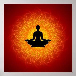 Yoga - meditación en mandala póster