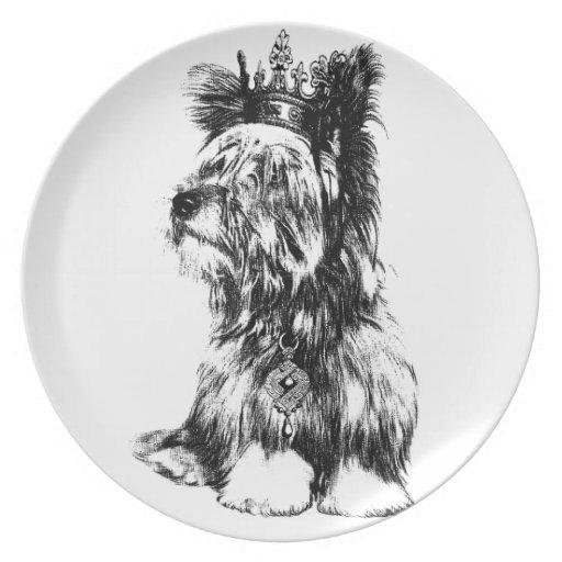 Yorkie Jewels el perro de perrito de la corona Platos De Comidas