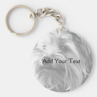 Yorkshire Terrier blanco y negro Yorkie Llavero Redondo Tipo Chapa