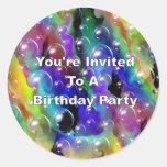 You' re invitada a una fiesta de cumpleaños pegatinas redondas