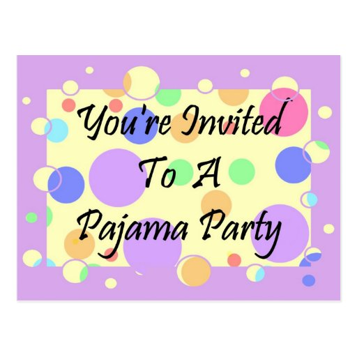 You' re invitada a un fiesta de pijama postal
