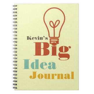 Your big idea journal modern light bulb ecru spiral note book