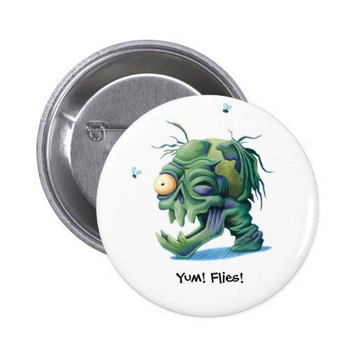 ¡Yum! ¡Moscas! Botón Pin