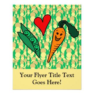 Zanahorias del amor de los guisantes, diseño verde folleto 11,4 x 14,2 cm