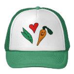 Zanahorias del amor de los guisantes, diseño verde gorros bordados