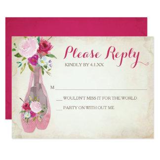 Zapato de ballet rosado del ~ de la tarjeta de invitación 8,9 x 12,7 cm