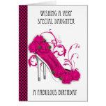 Zapato de moda y cumpleaños color de rosa Ca de Tarjeta De Felicitación