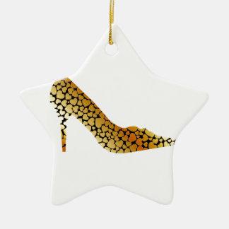 Zapato del oro adorno de navidad
