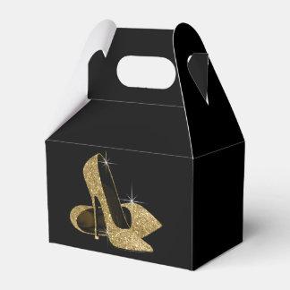Zapato del tacón alto del brillo del oro caja de regalos