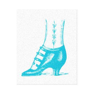 Zapato del vintage impresiones en lona estiradas