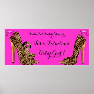 Zapato lindo del leopardo del chica del bebé póster