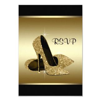 Zapato negro RSVP del tacón alto del oro Invitación 8,9 X 12,7 Cm
