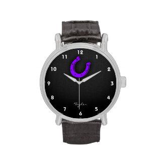Zapato púrpura violeta del caballo reloj de mano