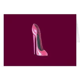 Zapato rosado del estilete tarjeta de felicitación