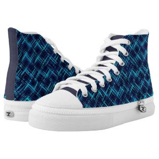 Zapato superior azul eléctrico del extracto hola
