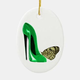 Zapato y mariposa amarilla O del estilete del Adorno Ovalado De Cerámica