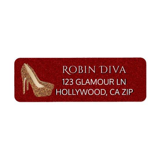 Zapatos atractivos rojos del tacón alto del oro etiquetas de remite