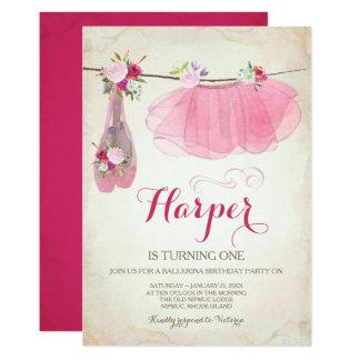 Zapatos de ballet del tutú del rosa de la invitación 12,7 x 17,8 cm