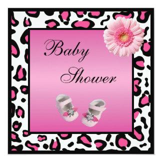 Zapatos de bebé rosados Gerbera y fiesta de Invitación 13,3 Cm X 13,3cm