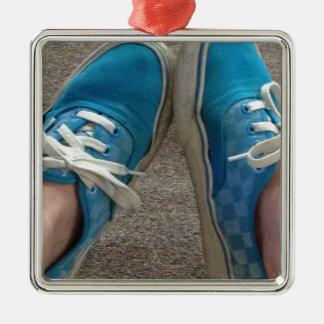zapatos de las furgonetas azules adorno cuadrado plateado