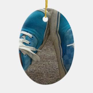 zapatos de las furgonetas azules adorno ovalado de cerámica