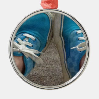 zapatos de las furgonetas azules adorno redondo plateado