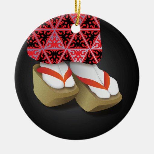 Zapatos de madera del geisha japonés ornamento para reyes magos