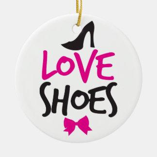 Zapatos del amor con el pequeño arco lindo adorno redondo de cerámica