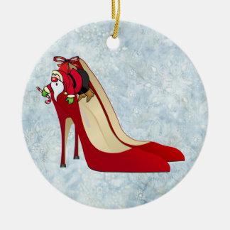Zapatos del tacón alto/duende rojos de Santa Adorno De Navidad