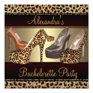 Zapatos del talón del fiesta del leopardo hola invitación 13,3 cm x 13,3cm