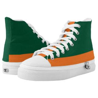 Zapatos impresos Hola-Top verde de la Bajo-Raya y