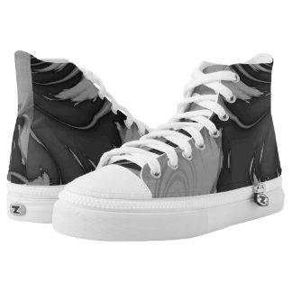 Zapatos impresos superiores grises del mármol hola