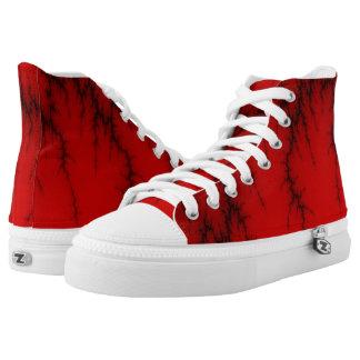 Zapatos impresos superiores rojos del relámpago