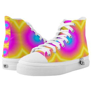 Zapatos impresos superiores rosados de Tiedye hola