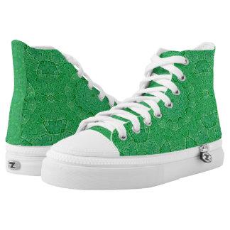 Zapatos impresos superiores verdes de la hoja hola