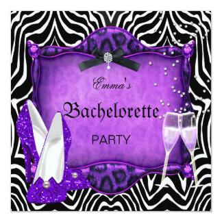 Zapatos púrpuras del negro de la cebra del fiesta invitación 13,3 cm x 13,3cm