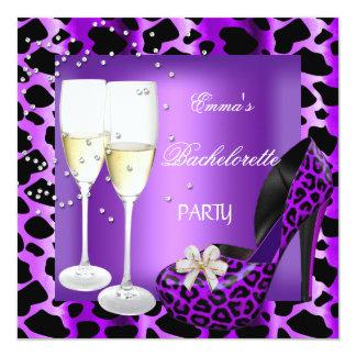 Zapatos púrpuras del negro del leopardo del fiesta invitaciones personalizada