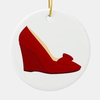 Zapatos rojos ornamento para arbol de navidad