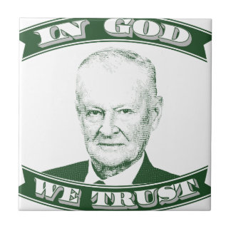 Zbigniew Brzezinski en dios que confiamos en Azulejo Cuadrado Pequeño
